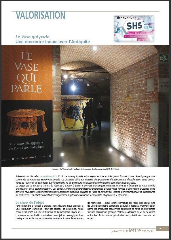 Vase qui parle, lettre de l'INSHS du CNRS